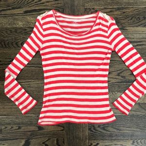 🔥5 for $25 Ann Taylor Gold Button Striped Top